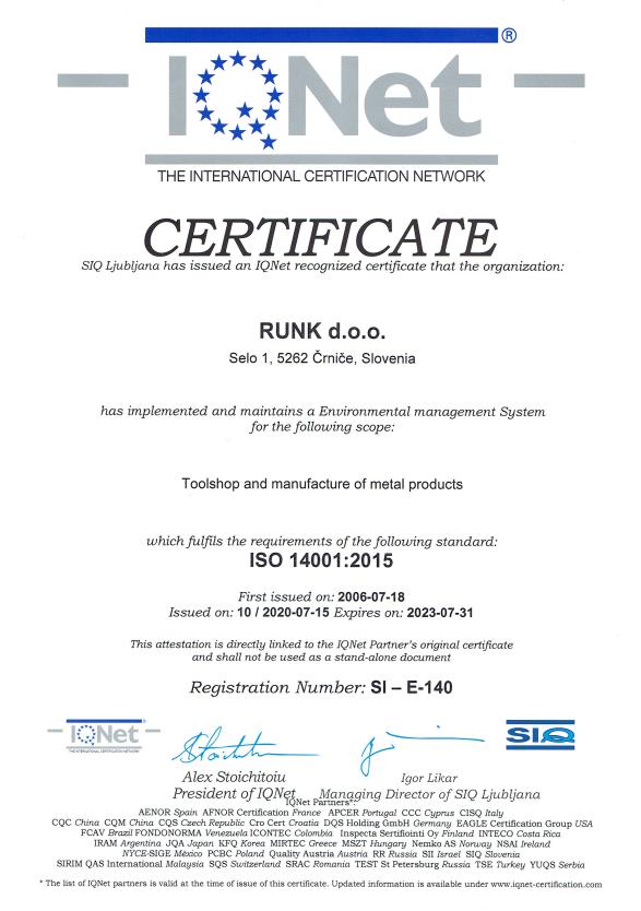 Certifikat ISO 14001:2015 ENG